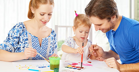 Happy Family: Mother, Father And Child  Daughter Draw Paints